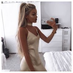 WEBSTA @ sophierimmerr - kendall gold satin choker dress from @thefashionbibleuk ✨