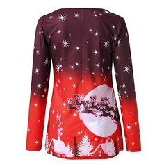 ba83bb45566 Amazon.com  ZEFOTIM Women s Christmas Casual Print Long Sleeve Christmas T Shirt  Top Blouse