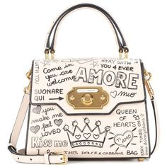 Dolce & Gabbana Welcome Printed Leather Shoulder Bag (€2.770) ❤ liked on Polyvore featuring bags, handbags, shoulder bags, white, white handbag, white leather purse, shoulder handbags, white leather handbags and dolce gabbana handbags