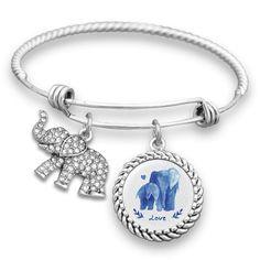 Watercolor Elephants Charm Bracelet