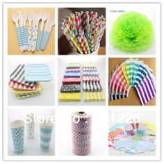 Party Supplies Samples Order Paper Straws Paper Napkins Paper Plates and Paper Cup Free Shipping $50.00