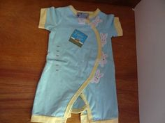 Baby Easter One-Piece 6 month boy or girl, Bunnies, Light blue, Yellow #CrackerBarrel #EverydayHoliday