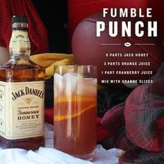 """Jack Daniel's Honey """"Fumble Punch"""" ~~ Ingredients_ 6 Parts Jack Daniel's Tennessee Honey, 3 Parts Orange Juice, 1 Part Cranberry Juice, Orange Slices _Directions: Mix all parts, add orange slices.bottoms up! Whisky Cocktail, Whiskey Drinks, Cocktail Drinks, Cocktail Recipes, Alcoholic Drinks, Bebidas Jack Daniels, Jack Daniels Drinks, Jack Daniels Honey Recipes, Jack Daniels Punch Recipe"""