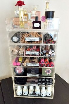 Clear Acrylic Makeup Organizer Crystal Handle by The Beauty Cube