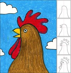 How to draw a rooster head. Art Projects for Kids