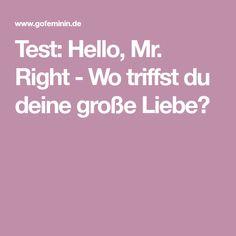 Test: Hello, Mr. Right - Wo triffst du deine große Liebe? Mr Right, Dream Man, Great Love, Reunions