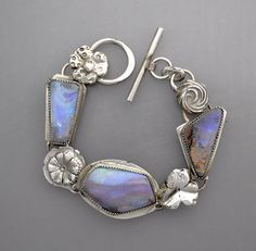 Three Blue Opals with Flowers by Temi on Etsy