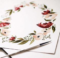 New Flowers Wreath Illustration Behance 64 Ideas Watercolor Water, Wreath Watercolor, Watercolor Cards, Watercolour Painting, Watercolor Flowers, Painting & Drawing, Watercolor Portraits, Watercolor Landscape, Watercolor Artists