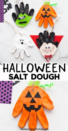 Halloween Salt Dough Recipe - such a fun Halloween craft for kids! Make your own Halloween handprint salt dough ornaments. Halloween Crafts For Kids, Halloween Fun, Easy Crafts For Kids, Holidays Halloween, Toddler Crafts, Halloween Themes, Holiday Crafts, Holiday Fun, Halloween Decorations