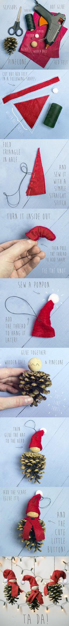 Realizzare il follettino di Natale con una pigna ed un po' di panno. #tutorial #idee #addobbinatale