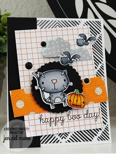 Card by Jen del Muro. Reverse Confetti stamp set: Too Cute to Spook. Confetti Cuts: Too Cute to Spook and Weather It Together. Quick Card Panels: Fall Fun.
