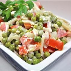 "Green Pea Salad recipe: ""This is a quickly prepared recipe, and is always juicy and crunchy at the same time. It is a healthy lunch, or used as a cold dinner salad for hot summer nights. Excellent for potlucks. Green Pea Salad, Green Peas, Pea Salad Recipes, Tomato Relish, Cooking Recipes, Healthy Recipes, What's Cooking, Cooking Ideas, Dinner Salads"