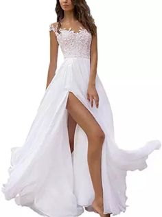 Find SIQINZHENG A Line Chiffon Formal Evening Dresses Long White Beach Dress online. Shop the latest collection of SIQINZHENG A Line Chiffon Formal Evening Dresses Long White Beach Dress from the popular stores - all in one Long White Beach Dress, Lace Beach Wedding Dress, Long Wedding Dresses, Elegant Wedding Dress, Long Bridesmaid Dresses, Elegant Dresses, Bridal Dresses, Lace Dress, Lace Corset