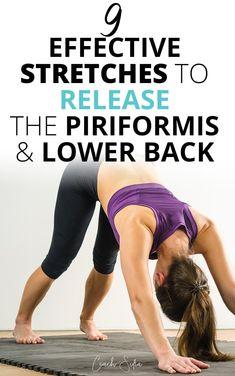 9 hip stretches to alleviate back pain and piriformis syndrome - Coach Sofia Hip Flexor Exercises, Sciatica Exercises, Back Pain Exercises, Posture Exercises, Back Spasm Relief, Hip Pain Relief, Sciatica Relief, Muscle Stretches, Hip Stretches