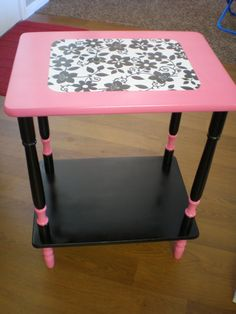 refinished furniture oooh black and pink Neon Furniture, Refurbished Furniture, Repurposed Furniture, Furniture Makeover, Painted Furniture, Furniture Ideas, Victoria Secret Rooms, Basement Craft Rooms, Teen Desk