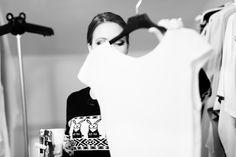 Backstage at the LUBLU Kira Plastinina SS14 fashion show. Kira Plastinina prepping for show.