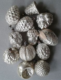 12 antique silver mercury glass ornaments bumpy acorn textured bell egg germany - Antique Silver Christmas Decorations
