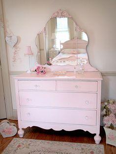Lovely Pink Antique Dresser with Tiara Mirror