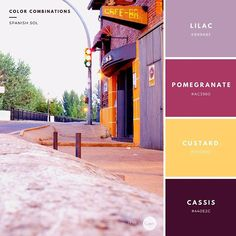Color Combinations: Spanish Sol. Lilac: #B89AB3 Pomrgranate: #AC3960 Custard: #FED36D Cassis: #440E2C #color #combinations #style #spanish #create #palette #lilac #pomegranate #custard #cassis #graphic #design #inspiration