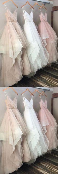 Spaghetti Chic Tulle Floor Length Prom Dresses Evening Dresses PG518