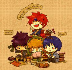 Chibi swordmen - Roy, Ike, Link and Marth from Smash Bros | #Zelda #FireEmblem #SmashBros