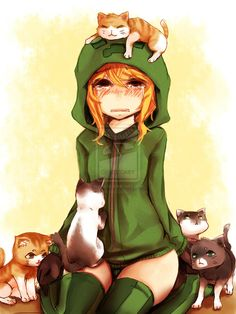 minecraft anime girls | Anime minecraft creeper With cats by rammkiler