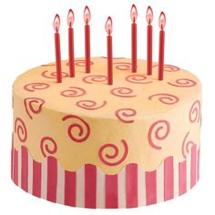 Sassy Swirls Cake - Look how some colorful twists can lift your celebration cake to new heights! Create the border waves and curliques with Sugar Sheets! along with easy-to-use cutters and inserts.