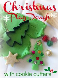 Homemade Christmas Play Dough (link to recipe) + Christmas themed Cookie Cutters + Embellishments = Holiday Fun!