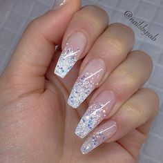 French Fade With Nude And White Ombre Acrylic Nails Coffin Nails Silver Sparkle Nails, Gold Nails, Glitter Ombre Nails, Glittery Nails, Glitter Top, Glitter Dress, Glitter Fabric, Glitter Makeup, Trendy Nails