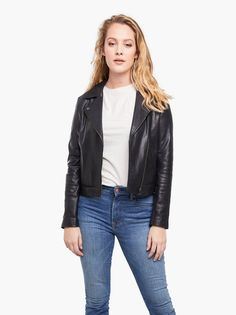 Buy Violeta by Mango Leather Biker Jacket, Black from our Women's Coats & Jackets range at John Lewis & Partners. Embroidered Leather Jacket, Best Leather Jackets, Beach Riot, Biker Leather, Real Leather, Models, Celebrity Outfits, Mannequin, Neue Trends
