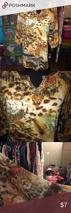 ANIMAL PRINT TOP Earth tones with lions and zebras sheer sleeves small sequins at vneck line Tops