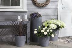 Kombinér potter i ulike størrelser så får du et fint arrangement ved inngangsdøren.