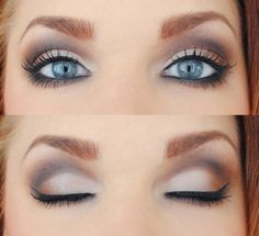 Pretty natural smokey eye.  Start with the light color first, than use a light brown in the outer corners, and finish with a dark brown in the crease of the eye.  Make sure you blend the colors using a windshield wiper motion with your brush.  To add more color, take the dark brown and apply it to the lash line to lower lids.