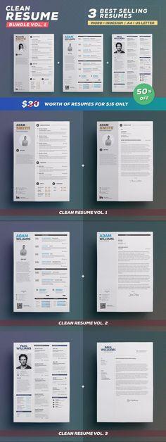 Clean Resume - Bundle Edition Vol.1 #template #printable #elegent #resumes #stationery #resume #BestResumeFormat #professional #creative #otf #moderndesign #usletterresume #proresume #CV #ResumeHelp #BestResumeFormat #ResumeTemplateDesign #PaperDesign #msword Indesign Resume Template, Resume Design Template, Cv Template, Print Templates, Resume Help, Resume Cv, Stationery Printing, Stationery Design, First Resume