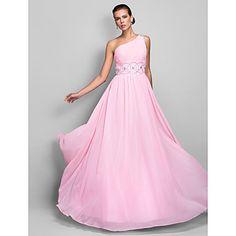 una línea de un hombro vestido de noche de gasa palabra de longitud / prom - USD $ 98.99