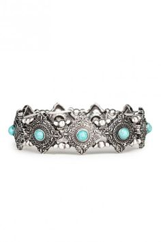 Boho silver and Turquoise Stretch Bracelet