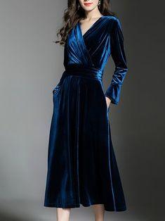 A-line Elegant Wrap Velvet Midi Dress