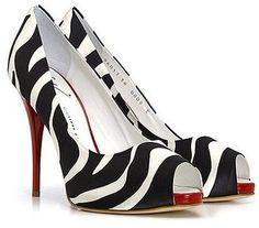ShopStyle: Giuseppe Zanotti Shoes Zebra Peep Toe Pump