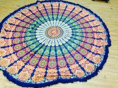 Round Mandala Blue Tassle Fringe Beach Throw Roundie Yoga Mat Table Cover India. #Handmade