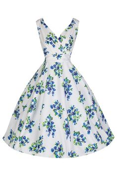 White and Blue Floral Swing Dress