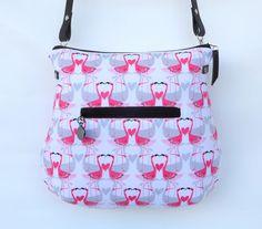 Umhängetaschen - Kleine Schultertasche :: Flamingos - ein Designerstück von frau-kaliki bei DaWanda