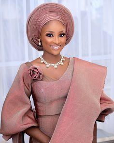 Nigerian Traditional wedding attire asooke done by African Wedding Attire, African Attire, African Fashion Dresses, African Dress, African Clothes, African Lace, African Style, African Beauty, Nigerian Traditional Wedding