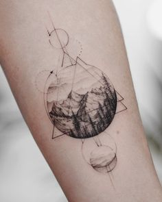 Mountainous landscape and geometry tattoo on the forearm tat. - Mountainous landscape and geometry tattoo on the forearm tattoo - Geometric Mountain Tattoo, Tattoos Geometric, Triangle Tattoos, Tattoo Mountain, Geometric Tattoo Forearm, Geometric Tattoo Nature, Tattoo Circle, Geometric Sleeve, Geometric Tattoo Landscape