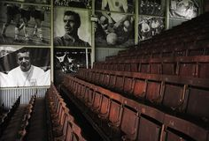 The wooden seats in the stand are pictured prior to the Barclays Premier League match between Fulham and Everton at Craven Cottage on March . Fulham Fc, Barclay Premier League, Premier League Matches, Everton, Barclays Premier, Soccer, March, Cottage, Futbol
