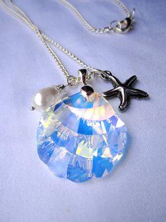 Swarovski AB Crystal Seashell with Starfish and Pearl Charms Necklace. $20.00, via Etsy.