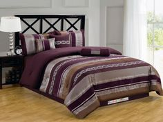 7Pc Modern Chic Chenille Striped Embroidery Comforter Set Purple Lilac Sliver Coffee King *** Details can be found by clicking on the image.