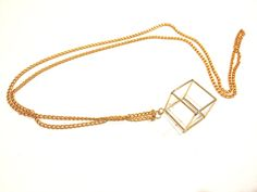 Hollow Cube Necklace / Gold / Geometric / Long Necklace. $28.00, via Etsy.
