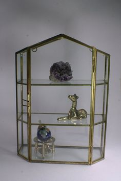 Brass & Glass Hanging Curio Box  Free Shipping by andantiques, $52.00