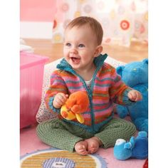 Bernat Zippy Baby Jacket and Ribby Legs - FREE knitting patterns Free Baby Patterns, Baby Boy Knitting Patterns, Knitting For Kids, Free Knitting, Crochet Patterns, Free Pattern, Knit Baby Sweaters, Knitted Baby Clothes, Knitting Supplies