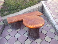 Table and bench, made out from concrete